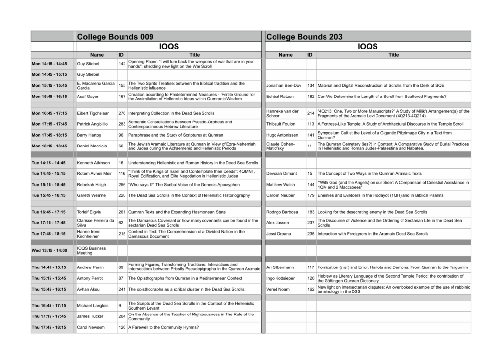 Preliminary Programme for the 10th Meeting of the IOQS in